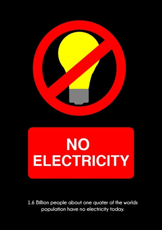 no electricity poster (entry sign) black