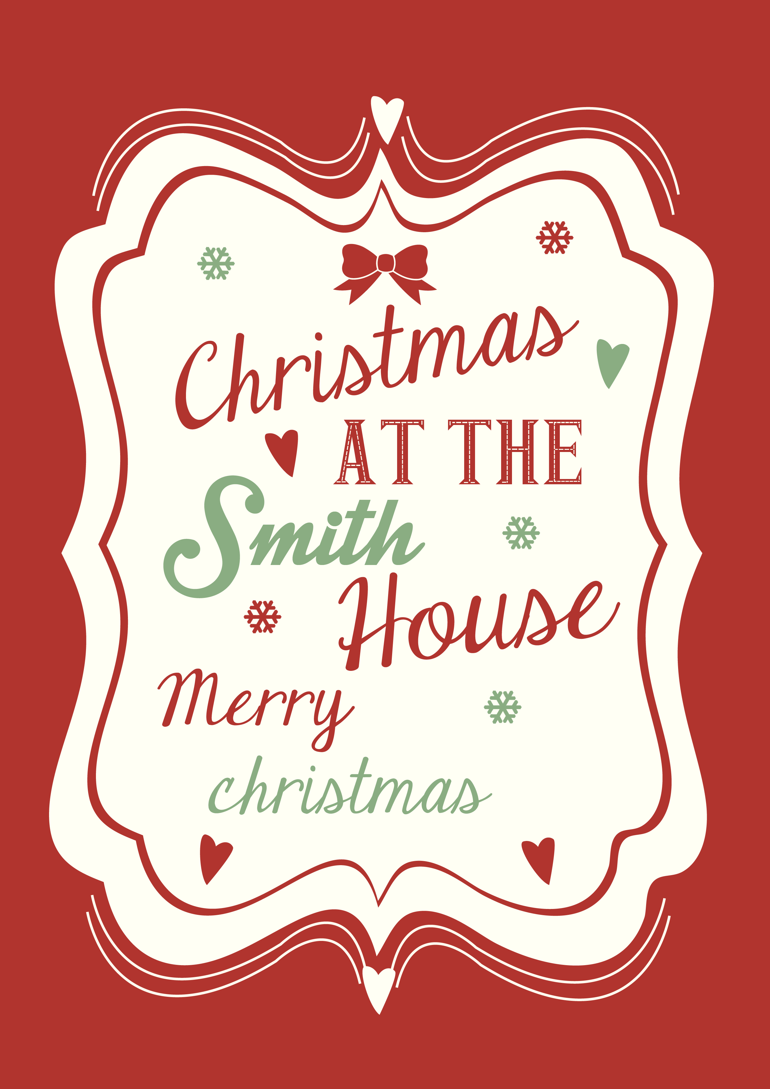 new christmas personalised print design
